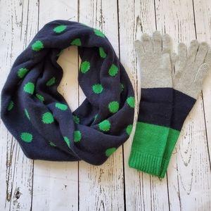 J Crew EUC scarf & NWT gloves set